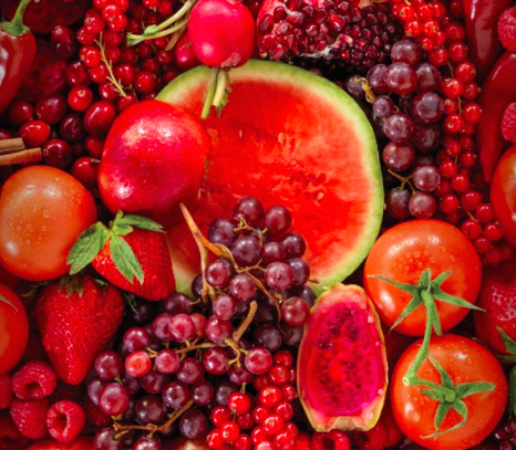 Red fruits and veggies