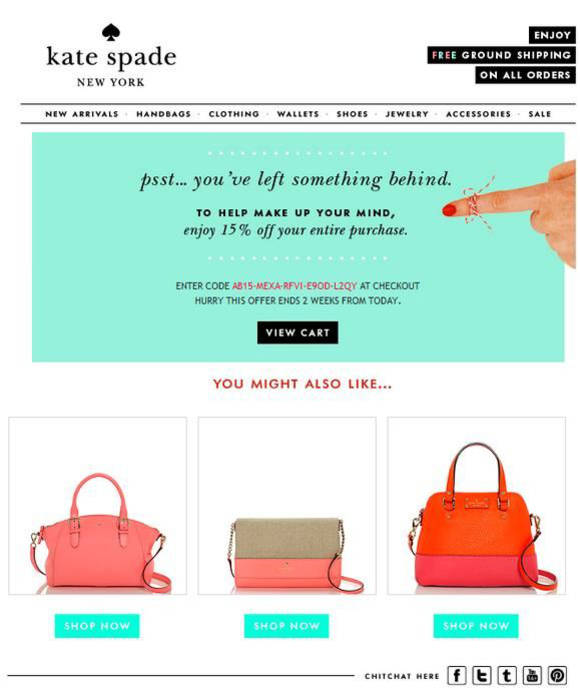 An abandoned cart email from Kate Spade