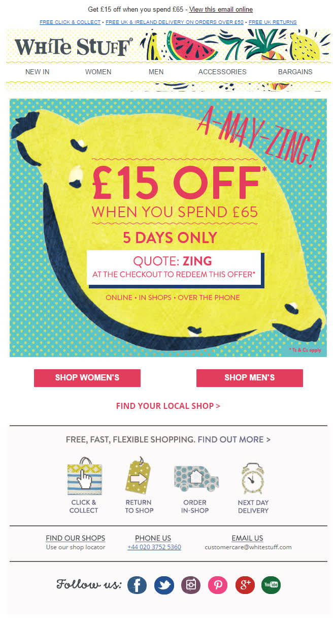 Ecommerce email offering a discount if you spend more than a certain amount of money