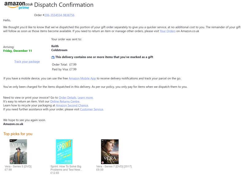 Amazon dispatch email