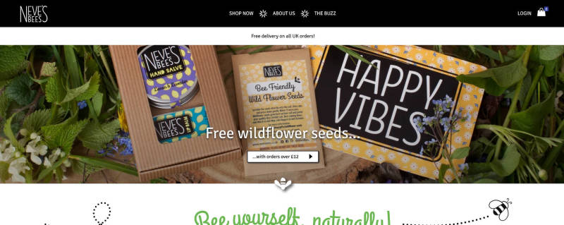 Attractive website main image from Neve's Bees website instead of an image slider