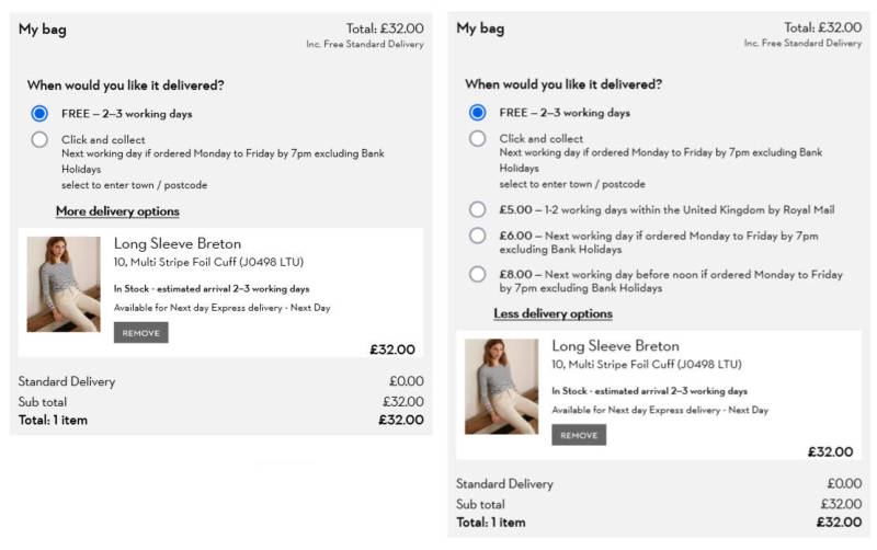 Clear delivery costs and expectations on the Boden website