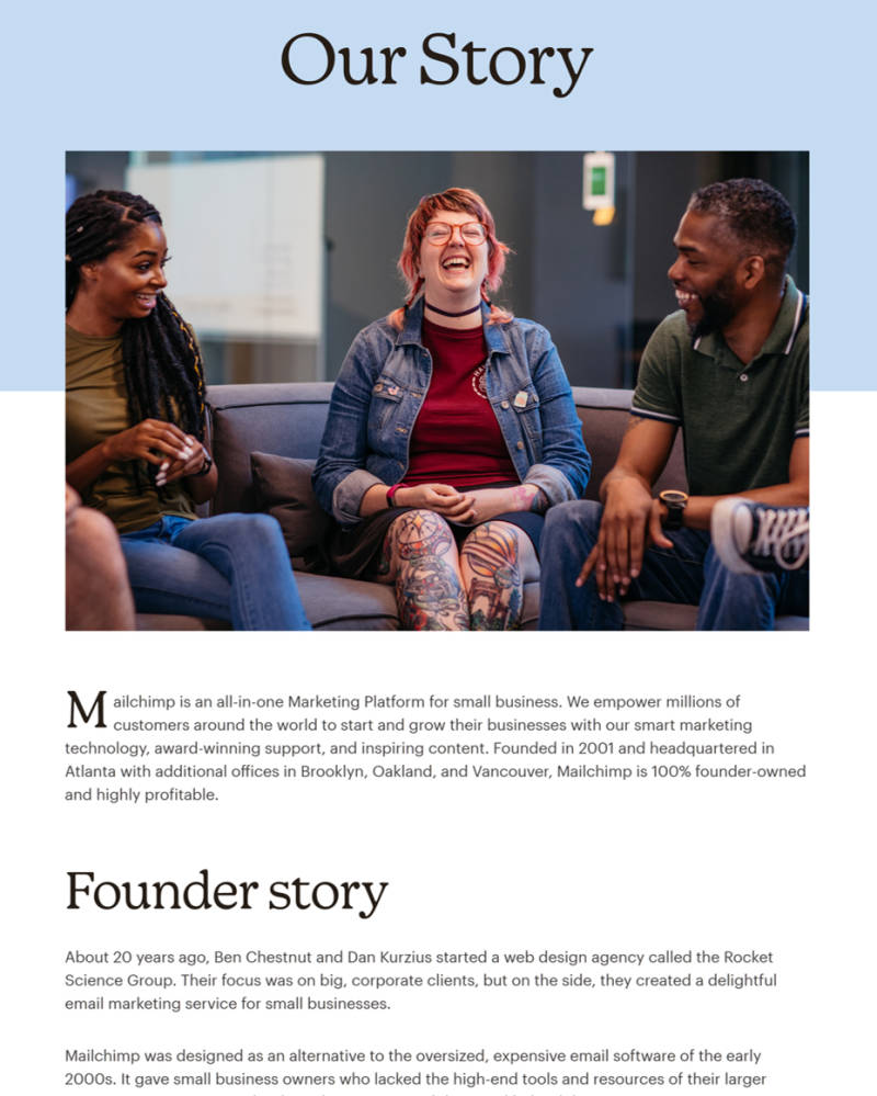 The about page used by Mailchimp