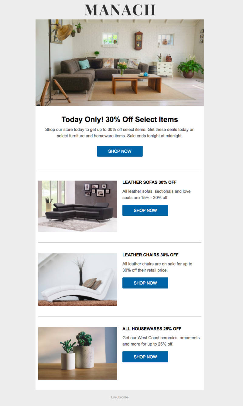 Time-limited promotional offer ecommerce email
