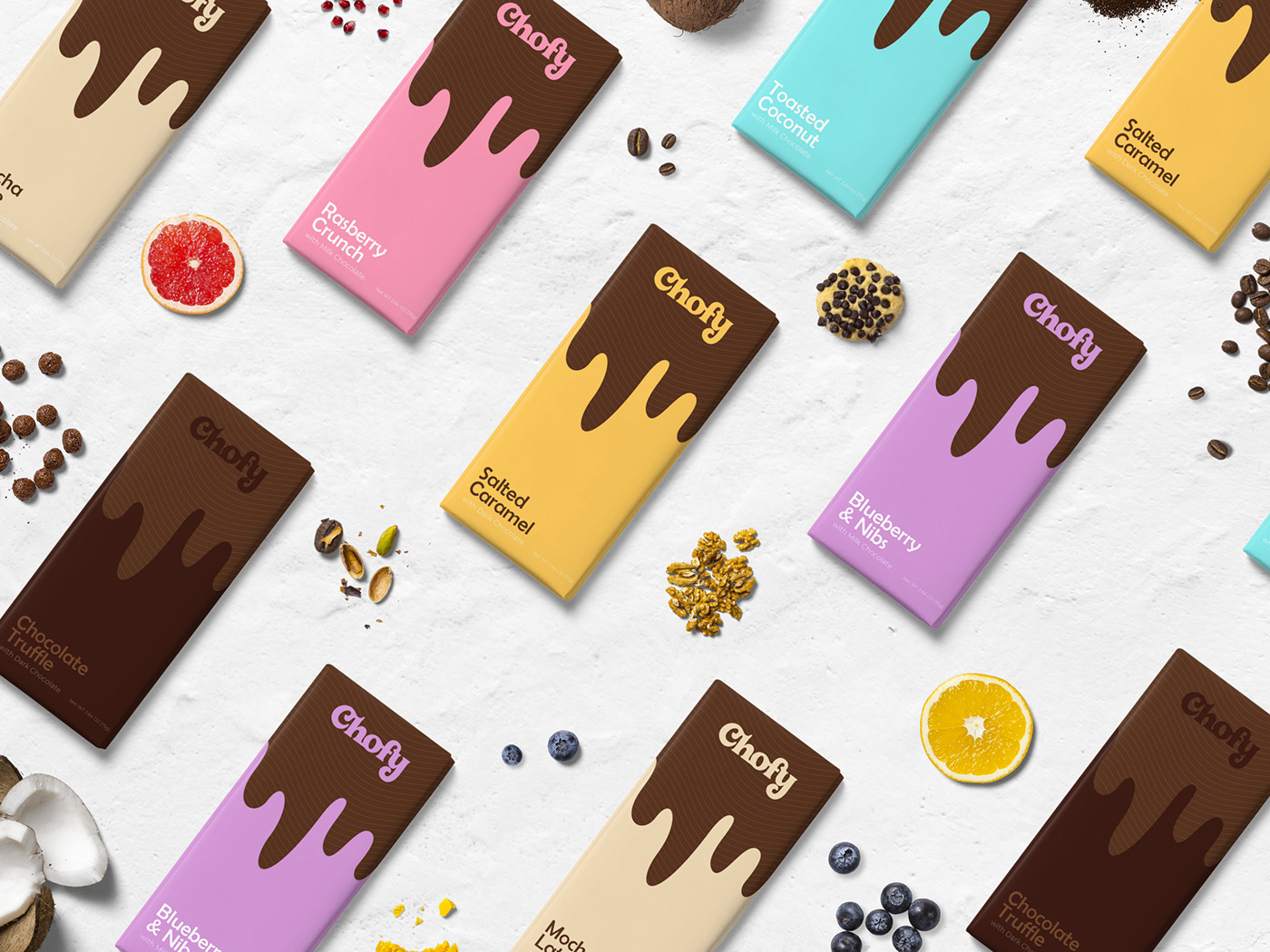 Branding and packaging design for Chofy, a chocolate brand.