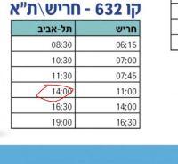 שינוי שעת האוטובוס מתל אביב לחריש במקום 11:30/14:00 ל15:00