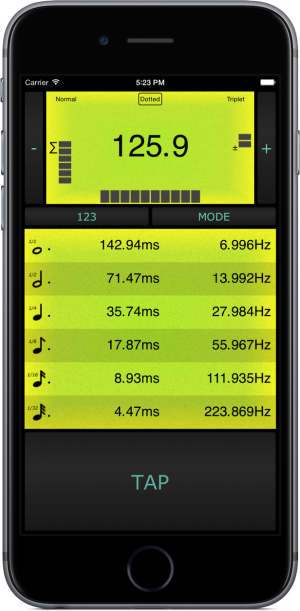 BPM Tap Tempo Beat Calculator iPhone screenshot