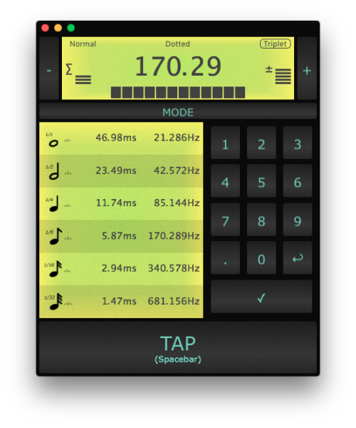 BPM Tap Tempo Beat Calculator macOS screenshot