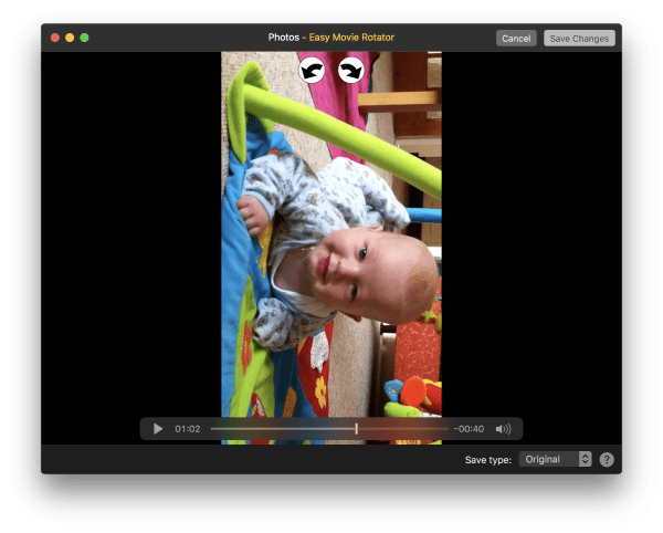 Easy Movie Rotator macOS Photos extension screenshot