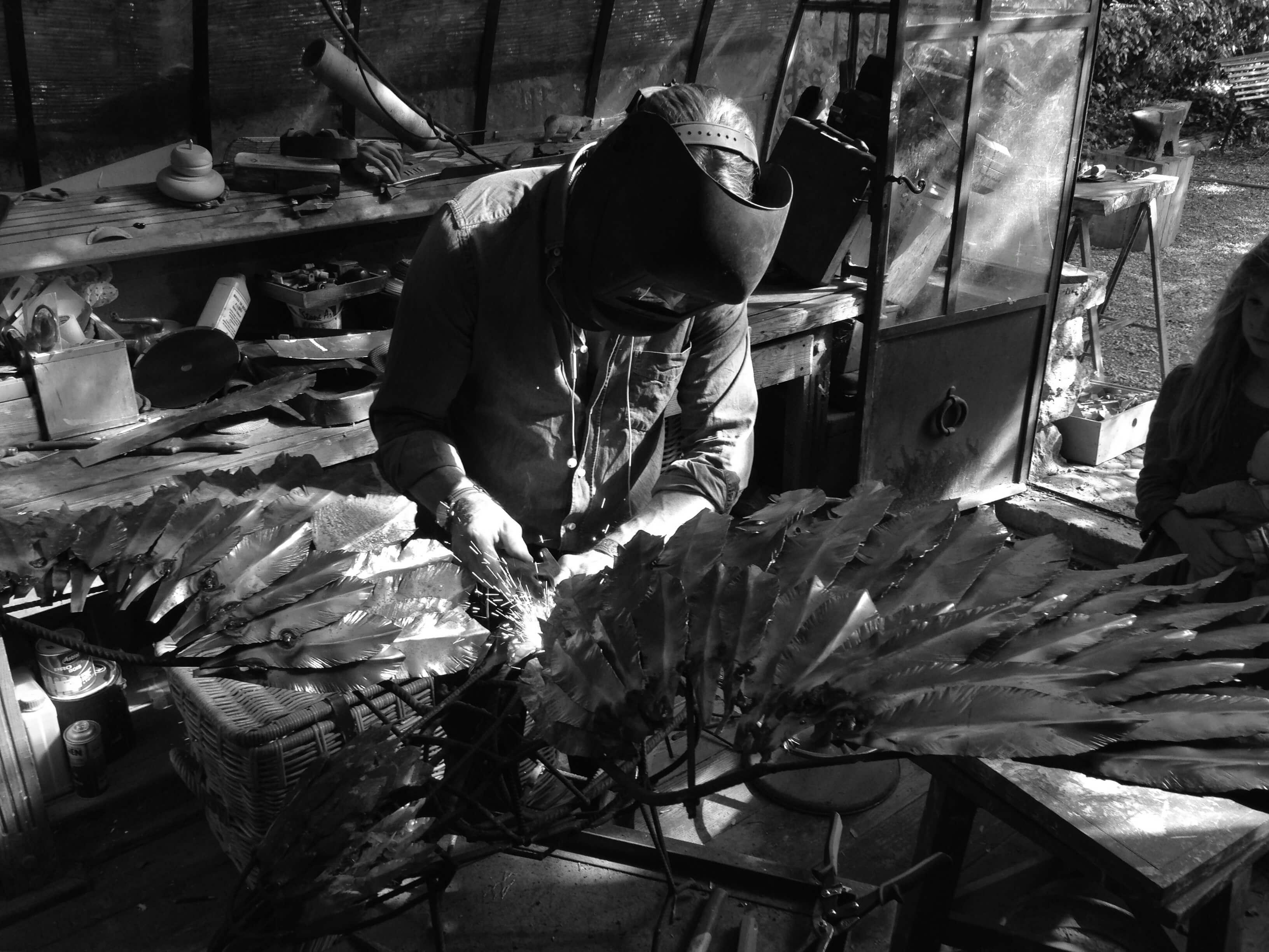 Aigle en acier, sculpture, Aurélien Raynaud, peintre sculpteur animalier