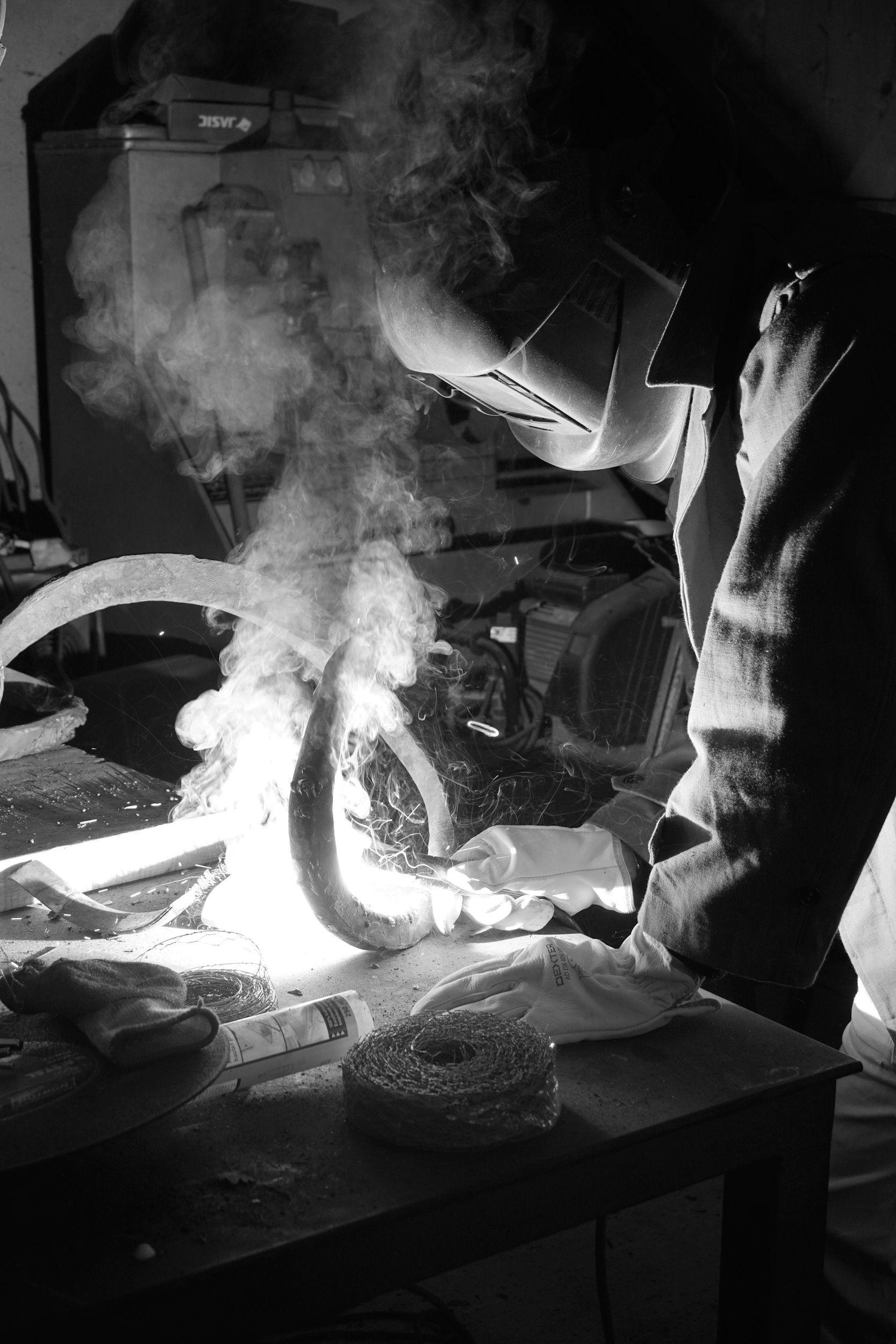 Serpent forgé, Aurélien Raynaud, peintre sculpteur animalier, atelier forge
