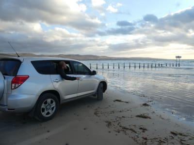 automobil na pláži