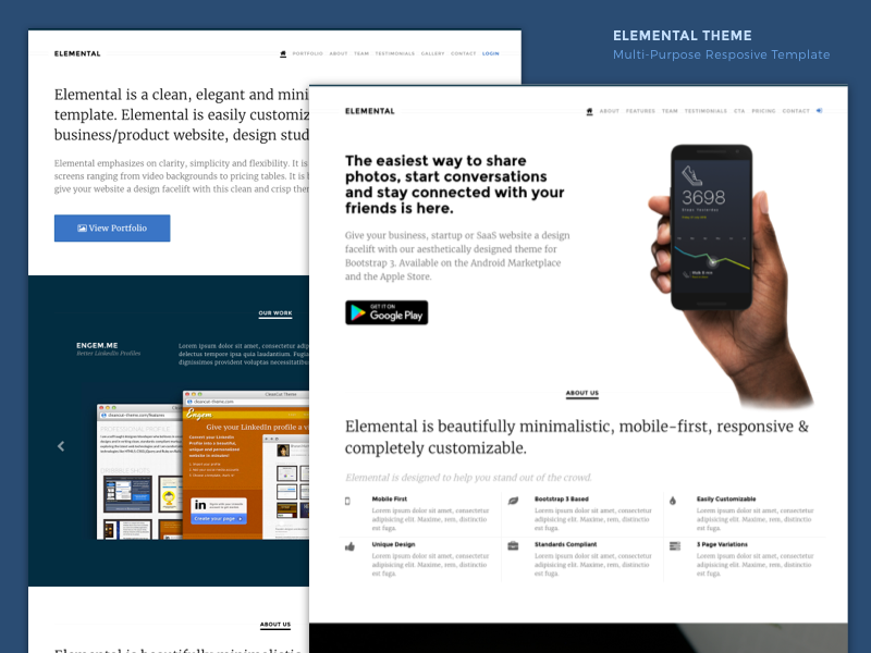 Elemental - Responsive Multipurpose Landing Page Template