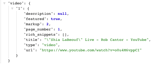 Featured Video JSON response