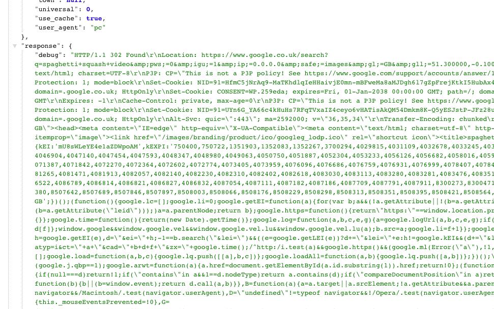 HTML JSON response