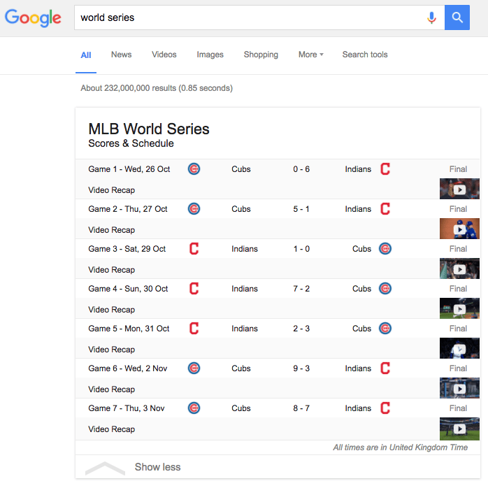 World Series results