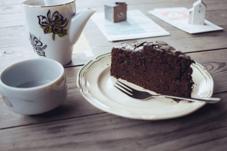 Slice of cake with tea