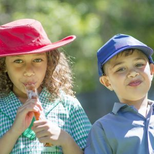 Aboriginal children enjoying ice pops