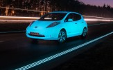 <p>Glow-in-the-dark Nissan Leaf on glowing highway in Oss, Netherlands</p>