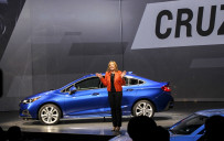 <p>GM CEO Mary Barra reveals 2016 Chevrolet Cruze at Detroit's Fillmore Theatre</p>