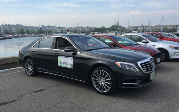 <p><strong>2016 Mercedes-Benz S 550e </strong></p> <p>This EcoRun entry demonstrates fuel-efficient technology is available at all price points and segments in the automotive world. The S-Class Mercedes is the epitome of luxury, comfort, technology and dynamic performance – and this plug-in hybrid version, priced at $133,250 as tested in EcoRun, sacrifices none of those virtues while delivering impressive fuel efficiency. The S 550e combines a V-6 biturbo gasoline engine with an intelligent hybrid drive system to produce 436 horsepower and 479 lb-ft of torque – sufficient output to launch this full-size luxury sedan to 100 km/h in just 5.2 seconds. Its 8.7 kWh, high-voltage, lithium-ion battery pack can be recharged by plugging the charging cable into a socket in the right side of the rear bumper. On electric power alone, the S 550e can cruise up to 33 kilometres. There are several innovative systems to increase fuel efficiency, one that looks ahead and, by synthesizing road information such as topography and speed limits, optimizes energy usage of the gas engine and electric motor. If the car is about to travel down a hill, for example, the system automatically prepares the electric motor to maximize power recovery. NRCan rates this luxurious rear-wheel-drive sedan at 10.0 L/100 km city, 7.8 highway, 9.0 combined. Actual fuel consumption during EcoRun was 7.3.</p>