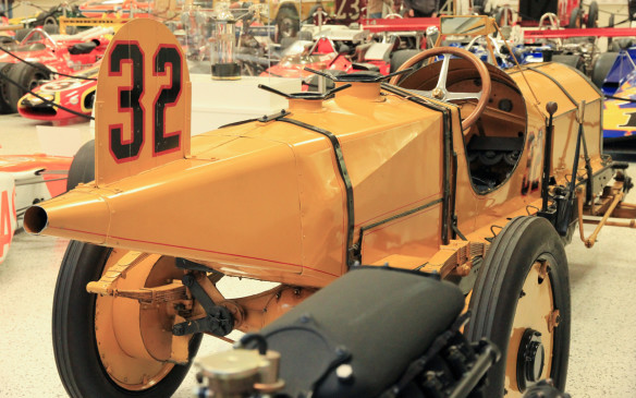 <p>The winner of that first Indianapolis 500 was Ray Haroun in this Marmon Wasp. Haroun, an engineer with the Marmon Motor Car Company who had previously retired from racing, averaged just under 75 mph (120 km/h) for the 500 miles to claim a purse of $10,000. Then he retired again. The Wasp still runs and occasionally makes appearances outside the museum.</p>