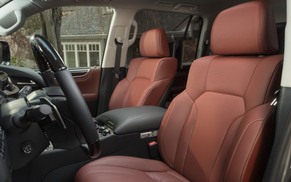<p>The cabin of the LX 570 has been refurbished and includes supple leather trim and rich wood accents – real, not fake</p>