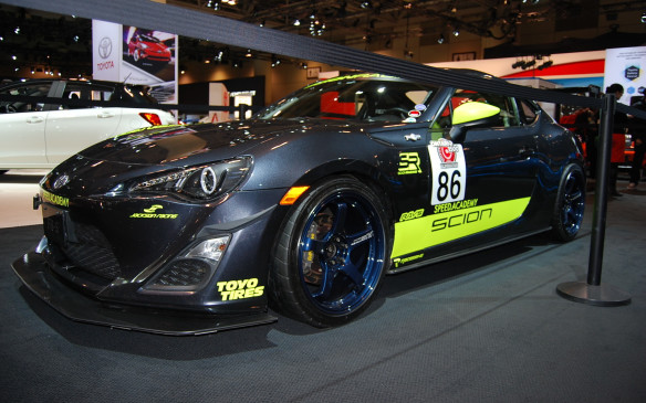 <p>This Scion FR-S, prepared by Speed Academy, is on display in the Toyota/Scion booth showcasing their track ready alignment features. For those who wish to get some track time in their daily drivers, this is the vehicle to do it in.  </p>