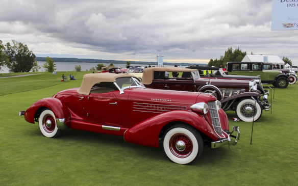 <p>As at most major Concours in North America, Auburns, Cords and Duesenbergs had a class of their own. Behind the Auburn Boattail Speedster shown here are a 1930 Duesenberg Model SJ and a 1935 Auburn 851 S-C Phaeton.</p>