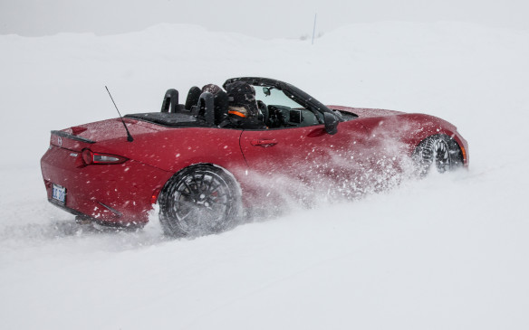 "<p>The exercise did demonstrate that the outstanding balance built into the MX-5 enables the driver to fling the car about while still feeling in complete control. That said, with the amount of snow piled up on the ice base, ""control"" was something that slipped away quickly – and frequently. It was, however, a total blast – the top down, snow blowing all around and visibility next to nil. What more could a driving enthusiast desire? For me, it was the highlight of the event.</p>"