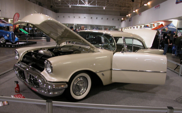 <p>Here's a gorgeous example of the 1950s era of big highway cruisers. It's Ron Caicco's 1956 Oldsmobile 88 hardtop – immaculate in every sense of the word.</p>