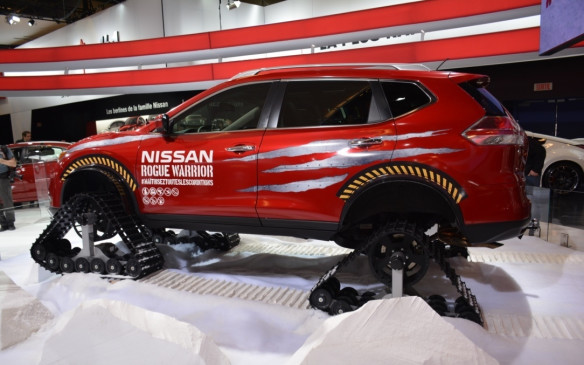 <p>The Nissan Rogue Warrior Concept stands out as one of the biggest vehicles on the show floor. It's unlike anything else you will see at the show with heavy-duty snow tracks fitted in place of all four wheels. Its Warrior qualities are real as it's able to scale a 45- degree grade and drive up to 100 km/h.</p>