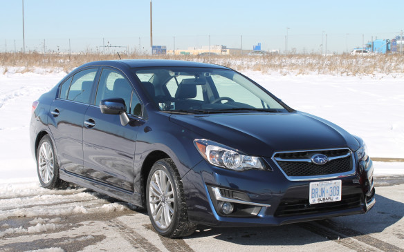 <p>The Impreza is Subaru's compact sedan. It starts at $19,995, though we drove the $29,495 top-of-the-line sedan, which includes 17-inch wheels instead of the 15-inch wheels on the most basic model. Its competition includes the Honda Civic, Toyota Corolla and Mazda3, among others. They have a cheaper base price, but they don't offer as many features at that cost and all-wheel drive isn't available, while it's standard on the Impreza.</p>