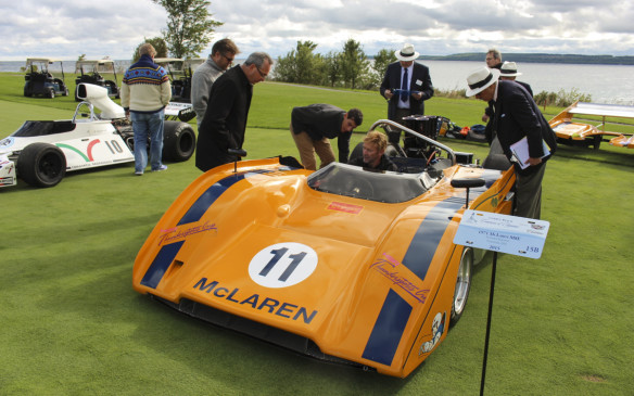 <p>A hot rod of a different type, this McLaren M8E CanAm customer car drew people like flies when its engine was fired up for the judges. The car was raced by Vic Elford.</p>