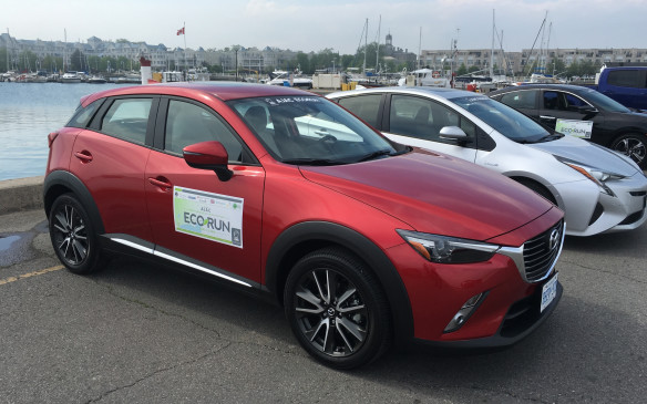 <p>This new entry by Mazda in the compact crossover utility vehicle segment has already earned impressive accolades, including selection by AJAC as the 2016 Canadian Utility Vehicle of the Year and the Canadian Green Utility Vehicle of the Year. The CX-3 features Mazda's highly efficient, naturally aspirated SKYACTIV technology – in this application it's a 2.0-litre four-cylinder matched with a six-speed automatic transmission and Mazda's intelligent all-wheel drive system. Pricing for the GT-trimmed entry in EcoRun was $32,690 as tested. The NRCan ratings for this compact CUV are 8.8 L/100 km city, 7.3 highway, 8.1 combined, but the Actual fuel consumption during EcoRun was 6.4. My average was 6.6 L/100 km on the run from Cobourg to Belleville.</p>