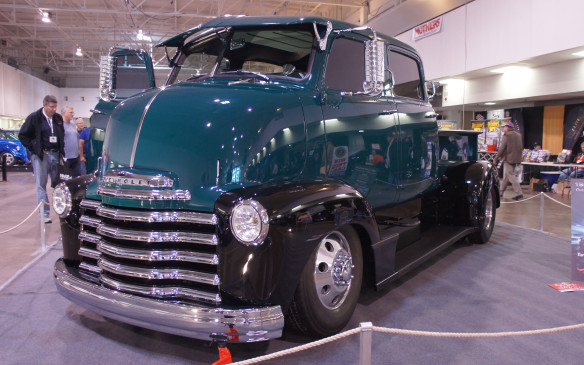 <p>It may look like a factory original, but this 1951 Chevy COE truck's quad cab was custom built. Tucked under the cab is a 5.9-litre Dodge Cummins diesel V-8 engine that's been specially tuned to crank out 400 horsepower and 800 lb-ft of torque.</p>