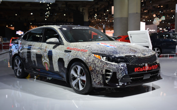 <p>Yes, it's a weird name but Toronto hosted the NBA's All-Star Weekend during the auto show and, to commemorate those festivities, Kia displayed a 2016 Kia Optima SX in NBA All-Star Game livery. Kia is the official NBA sponsor and for the first time in the league's history was able to have the Kia logo on the all-star game jerseys. The Optima SX had the Toronto skyline featured throughout the body with the official logo of the game that includess the CN Tower, along with the hashtag: <em>#KiaAllStarMVP</em>.</p>