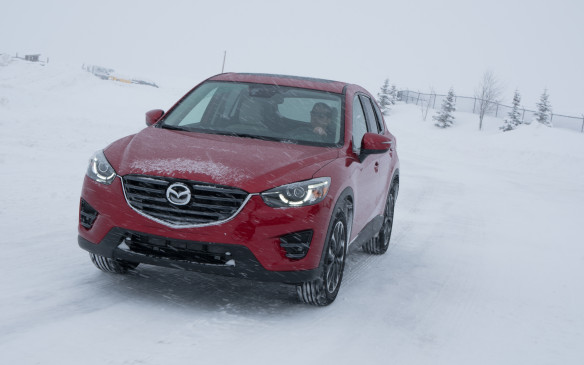 <p>The autocross/slalom course also demonstrated the superiority of the Mazda AWD system. Again, the CX-5 was pitted against the CR-V and Forester. The precise control the Mazda engineers strived for in developing the system was evident in this exercise, with the CX-5 making seamless shifts from two-wheel to all-wheel drive as conditions dictated. Entering corners or weaving through the pylons, its precise turn-in capabilities gave me a sense of control and confidence. The CR-V felt more vague running through the course, while the Subaru, although quite adept at making the moves, did so with a more effort than the Mazda – and its control systems generated significance noise as they adjusted to the conditions.</p>