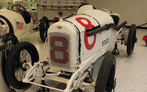 "<p>Another Indianapolis-based automaker, Stutz, built its reputation as ""The Car That Made Good in a Day"" after a prototype finished the full 500 miles to place 11th in the 1911 Indianapolis 500. This 1915 race car is one of a three-car factory team of stripped- down production cars that Stutz campaigned through 1915.</p>"