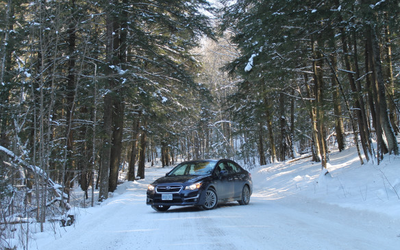 <p>All the side roads were snow-covered. Both Subarus were fitted with Bridgestone Blizzak winter tires to help get a grip – on roads like these, stopping distances are at least halved with winter tires, and the car has much more traction around corners.</p>