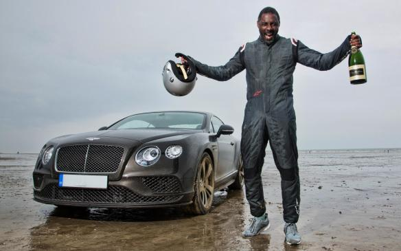 <p>Idris Elba with Flying Mile record setting Continental</p>