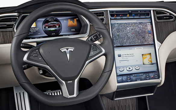 <p>Tesla Model S dashboard</p>