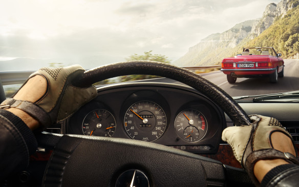 Classic car driving