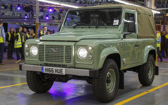 Last Defender, a Defender 90 Heritage Soft Top, comes off the line in Solihull