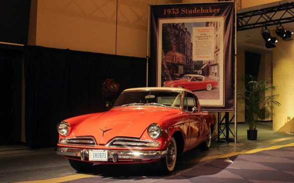 <p>The '53 Starliner, designed by industrial designer Raymond Loewy's studio, is arguably one of the most critically acclaimed designs of the 20<sup>th</sup> century. Not surprisingly, ads for the car highlighted its styling, maximizing the image and minimizing the text.</p>