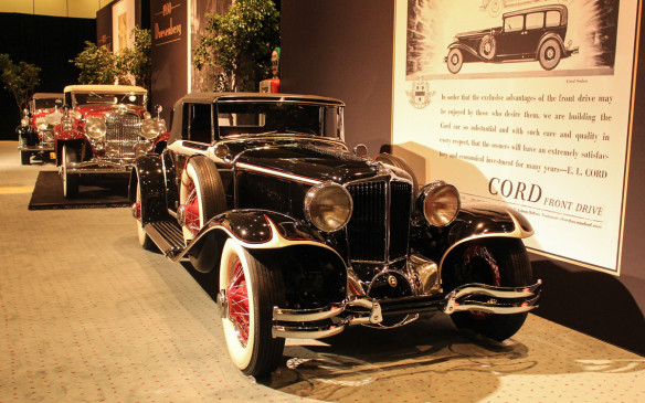 <p>Introduced in 1929 as part of the Auburn-Cord-Duesenberg family, the Cord L-29 was the first front-wheel-drive production car built in the U.S.A. Its long-hood profile and front drive configuration were key components of the car's advertising.</p>