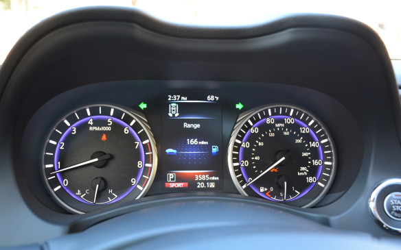 <p>According to Infiniti, the Q50's fuel consumption ratings for the 2.0-litre will be 10.6 L/100 km in the city and 8.4 on the highway. Those for the 300-hp V-6 Premium will be 12.3L/100 km in the city and 8.5 on the highway. The range-topping 400-hp Red Sport 400 will be rated at 12.8 L/100 km in the city and 9.1 on the highway. The hybrid version provides the most bang for your buck in terms of fuel consumed with ratings of 8.7L/100 km in the city and 7.6L/100 km on the highway.</p>