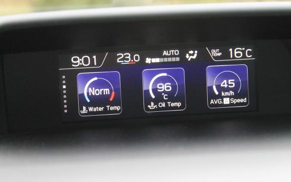 <p>The secondary display above the centre stack is similar to that in most Subarus and includes pop-up displays for climate control and fuel consumption. It's more useful and better laid out than in previous generations.</p>