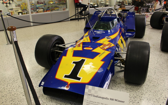 <p>Jumping ahead a few decades, one of the most recognizable cars in the museum, at least for a certain generation, is this Johnny Lightning Special, which won the 1971 Indy 500, driven by Al Unser (Sr.). It was sponsored by and painted to match a line of Johnny Lightning miniature die-cast toys that competed with Hot Wheels.They were must-have toys!</p>