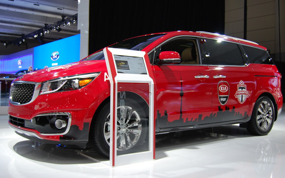 "<p>You can always count on Kia to have some ""sports"" vehicles on display - and by ""sports"" I mean vehicles wrapped in support of Toronto's local sports teams. This 2016 Kia Sedona represents the Toronto FC soccer team.</p>"
